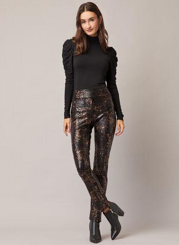 Pantalon pull-on à motif serpent, Noir,  pantalon, serpent, pull-on, étroit, métal, automne hiver 2020