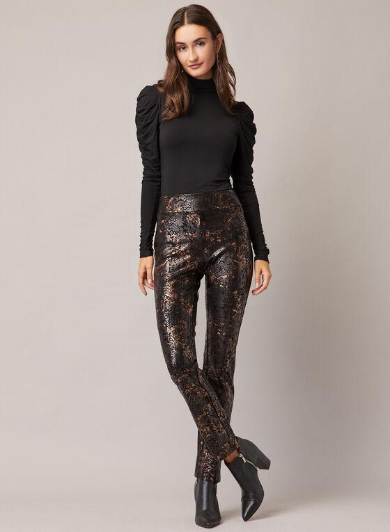 Pantalon pull-on à motif serpent, Noir