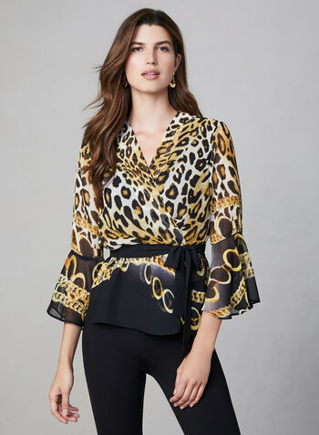 Frank Lyman – Mixed Print Blouse, Black, hi-res,  animal print top