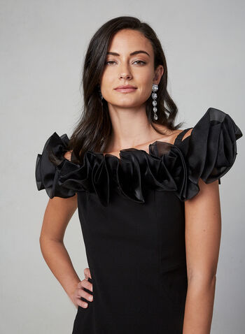 Frank Lyman - Off-the-Shoulder Dress, Black,  off-the-shoulder, strapless, sleeveless, ruffle, satin, slim, cocktail dress, stretch, fall 2019, winter 2019