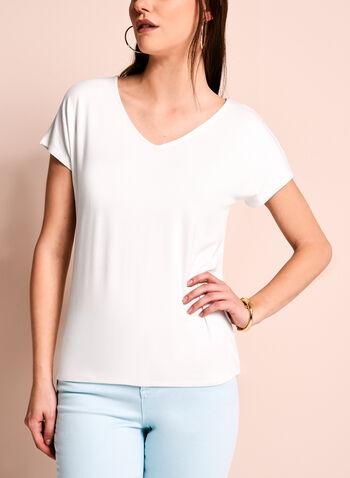 Short Sleeve V-Neck Top, Off White, hi-res