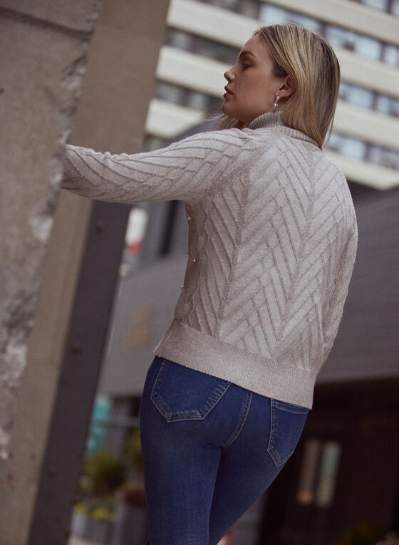 Pearl Detail Cable Knit Sweater, Brown