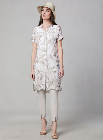 Floral Print Chiffon Blouse, White, hi-res,  short sleeves, button down, floral, chiffon, slits, spring 2019