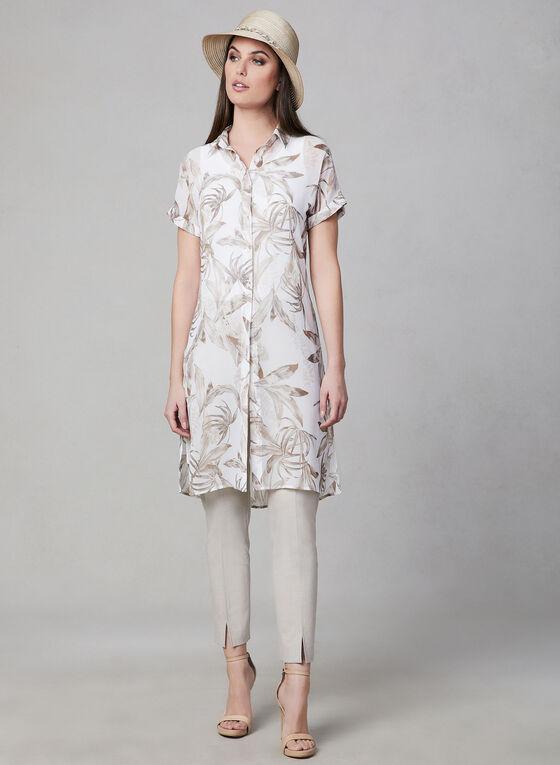 Blouse longue à motif floral, Blanc, hi-res
