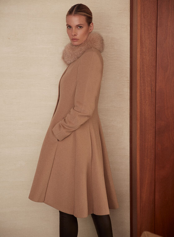Mallia - Fur Collar Cashmere Blend Coat, Beige