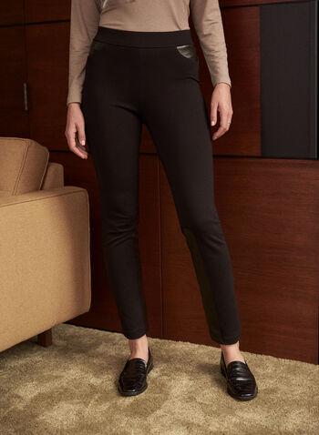 Legging à jambe étroite et détails en similicuir, Noir,  automne 2021, pantalons, legging, modèle à enfiler, pull-on, jambe étroite, détails, insertions en similicuir, 2 poches arrière, poches appliquées