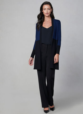 Open Front Knit Cardigan, Blue, hi-res