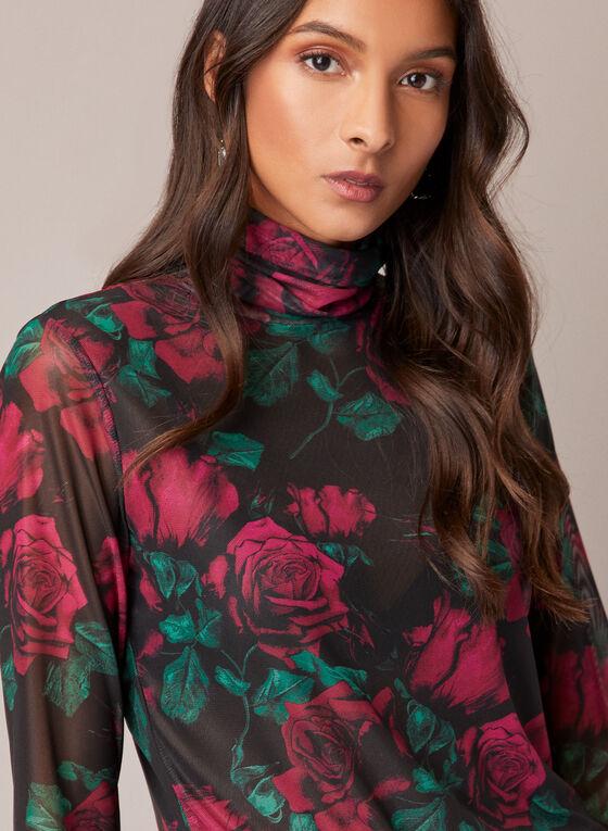 Rose Print Mesh Top, Black