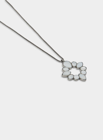 Long Pendant Necklace, White, hi-res