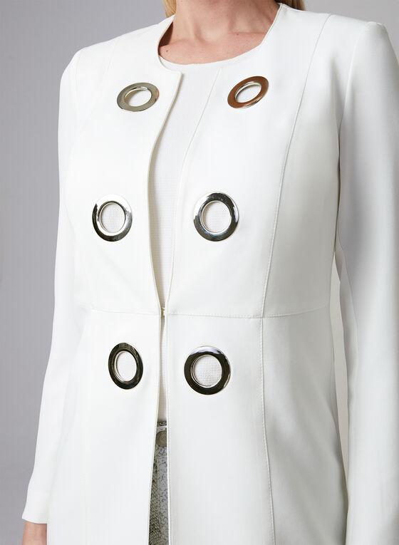 Vex - Veste longue avec détails d'œillets, Blanc cassé, hi-res