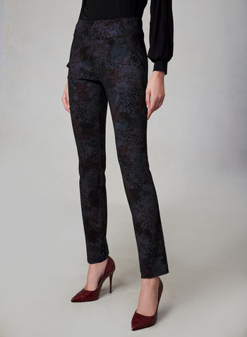 Insight - Floral Print Slim Leg Pants, Black, hi-res,  fall winter 2019, floral print, slim leg, pull on