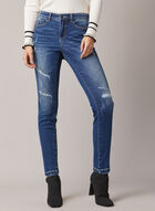 Rhinestone Detail Distressed Jeans, Blue