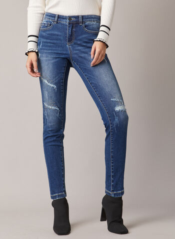 Rhinestone Detail Distressed Jeans, Blue,  jeans, distressed, rhinestone, denim, pockets, fall winter 2020
