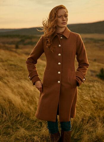 Essential Stretch Wool Blend Coat, Brown,  fall winter 2021, fall 2021, outerwear, coat, essential, wool, wool blend, faux wool, stretch