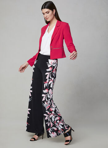 Floral Print Wide Leg Pants, Black, hi-res,  pull-on, jersey, palazzo pants, spring 2019