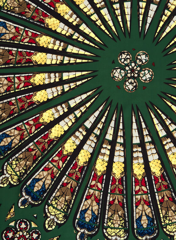 Foulard carré à motif vitrail, Vert