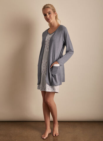 Claudel Lingerie - Cardigan & Nightgown Set, Grey,  sleepwear, cardigan, nightgown, floral, stretchy, v-neck, sleeveless, spring summer 2020