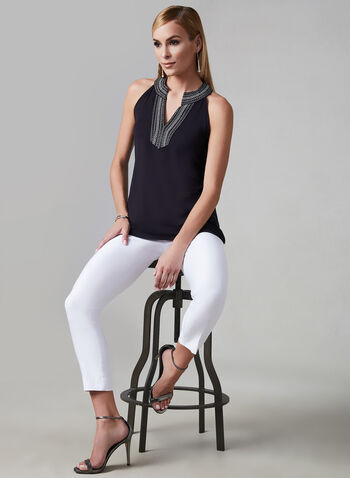 Embroidered Cleo Neck Top, Black, hi-res