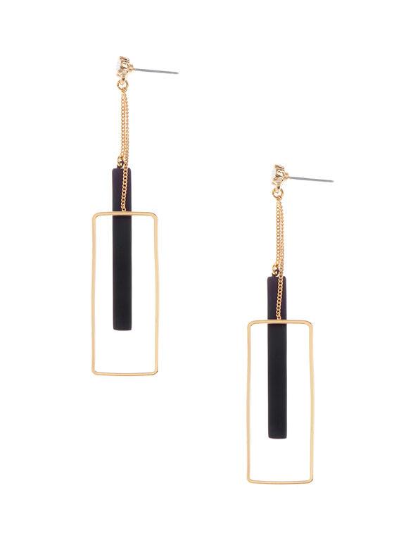 Rectangular Pendulum Earrings, Black, hi-res