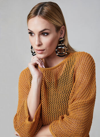 Open Weave Bat Sleeve Sweater, Orange, hi-res