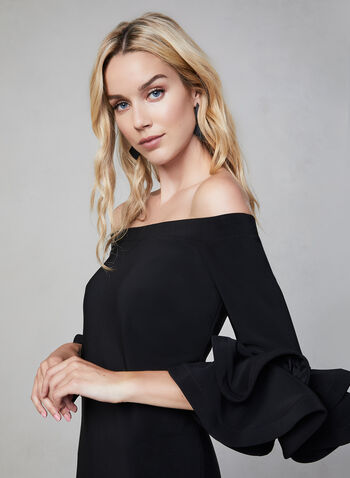 Joseph Ribkoff - Large Ruffle Sleeves Dress, Black,  off-the-shoulder, ruffle sleeves, elastic neckline, fall 2019, winter 2019