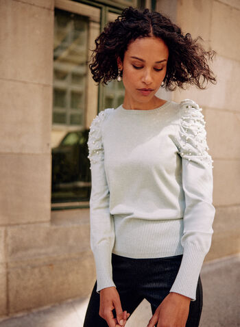 Pearl Detail Puff Sleeve Top, Green,  fall winter 2021, sweater, top, shirt, puffed sleeves, long sleeves, puff shoulders, pearl details, pearl shoulders, boat neck, crew neck, knit, ribbed, hem, cuffs, mutton sleeves