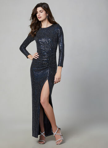 BA Nites - Sequin Gown, Blue,  BA Nites, gown, occasion dress, sequin, long sleeves, ruching, fall 2019, winter 2019