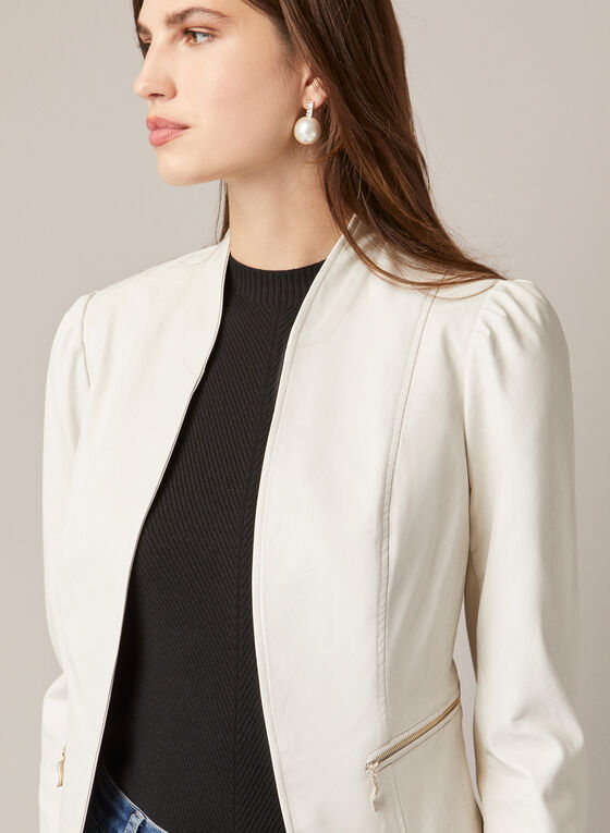 Open Vegan Leather Jacket, Off White