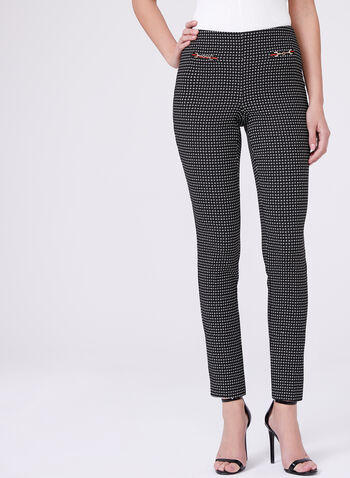 Jacquard Straight Leg Pants, Black, hi-res