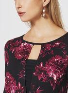 Floral Print ¾ Sleeve Top, Red, hi-res