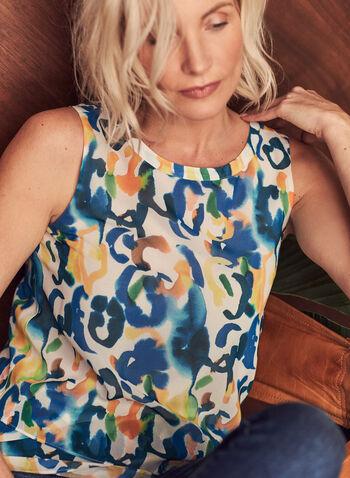 Blouse étagée à motif abstrait, Blanc,  blouse, abstrait, sans manches, ourlet étagé, ajour, crêpe, printemps été 2021