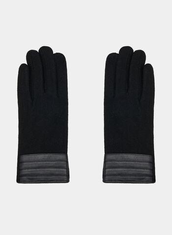 Gants avec faux cuir, Noir, hi-res