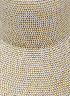 Large Straw Hat With Metallic Detail, Silver, hi-res