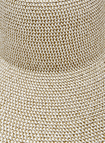 Chapeau capeline en paille aspect métallisé, Argent, hi-res