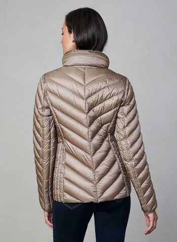 Anne Klein - Short Down Quilt Coat, Off White,  packable coat, quilt coat, down coat, coat, light coat, transition coat, chevron quilt, hood, pockets, zipper, fall 2019, winter 2019