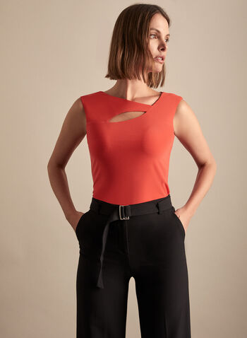 Asymmetric Cutout Detail Top, Orange,  top, cap sleeves, asymmetric, cutout detail, jersey, spring summer 2020