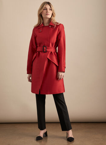 Novelti - Belted Front Zip Trench Coat, Red,  coat, trench, belt, zipper, notch collar, spring summer 2020
