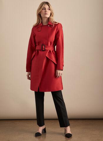 Novelti - Trench zippé à ceinture, Rouge,  manteau, trench, ceinture, zip, coton, satin ,printemps été 2020