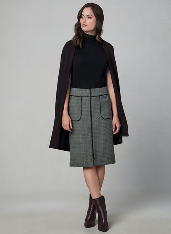 Houndstooth Print Pencil Skirt, Green, hi-res,  zipper, faux leather, pockets, midi skirt, fall 2019, winter 2019