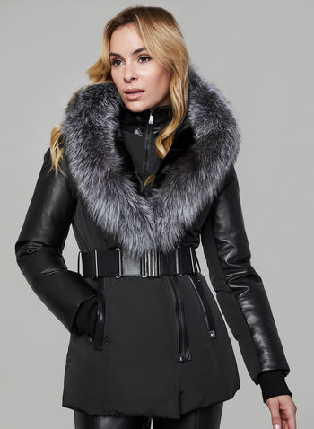 Sicily - Genuine Fur & Leather Polyfill Coat, Black, hi-res,  coat, quilted, fur, leather, thermal insulation, belt, winter 2019