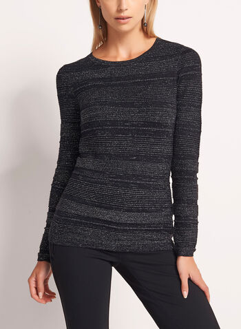 Metallic Stripe Knit Sweater, Black, hi-res