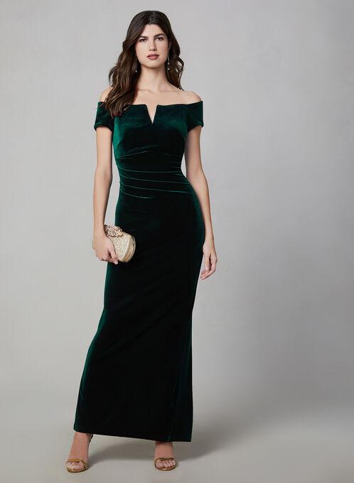 BA Nites - Off-the-Shoulder Velvet Dress , Green, hi-res