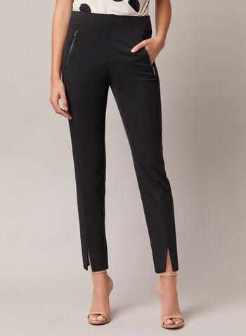 Pantalon Amber court à ourlet fendu, Noir,  pantalon, amber, étroit, zip, pinces, automne hiver 2020