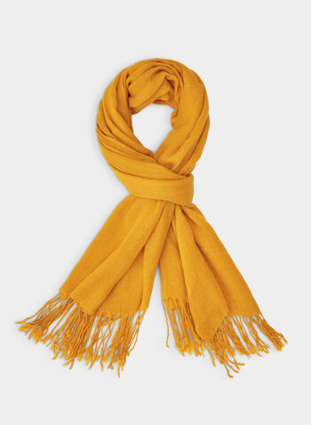 Pashmina-Style Wrap, Yellow,  wrap, scarf, pashmina, fringes, fall 2019, winter 2019