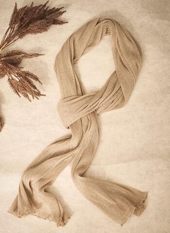 Foulard léger à effet métallisé, Blanc cassé,  automne hiver 2021, fait au Canada, écharpe, châle, accessoires, foulard, métallique, fibres métallisées, légèreté, léger, étole, ourlet, froncé