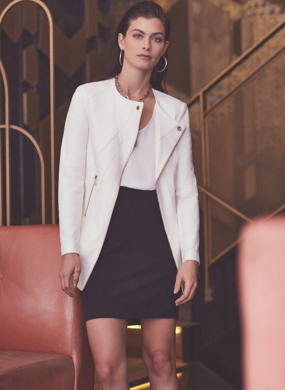 Vex - Long Faux Leather Jacket, Off White