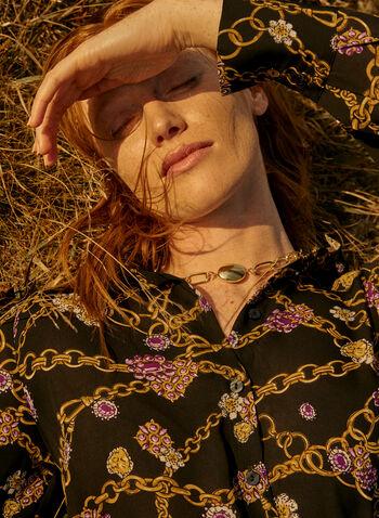 Robe chemisier à motif chaînes, Noir,  automne hiver 2020, robe, chemisier, manches longues, boutons, motif, chaînes, noeud, lien, nouer, midi