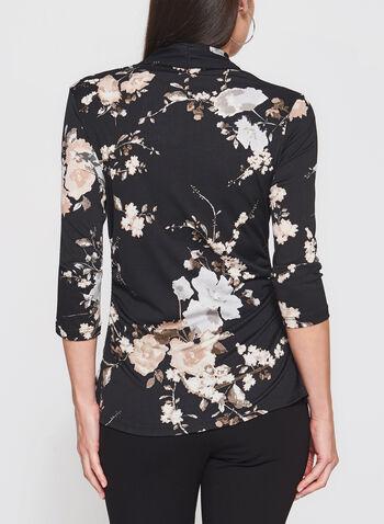 Floral Print 3/4 Sleeve Top, Black, hi-res