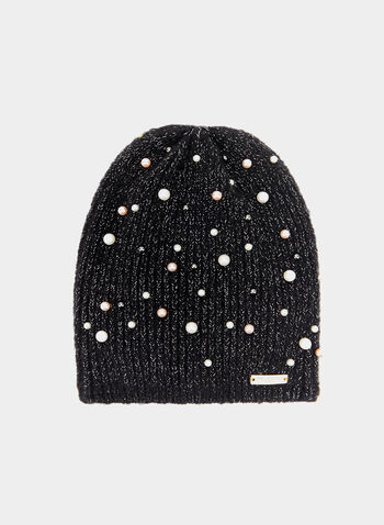 Karl Lagerfeld Paris - Metallic Knit Beanie, Black, hi-res