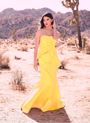 Adrianna Papell - Strapless Mermaid Dress, Yellow, hi-res